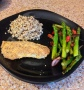 Crispy orange roughy with grilled asparagus and brown rice with quinoa